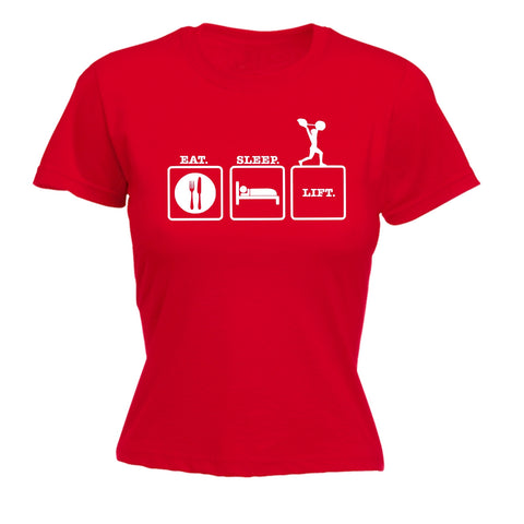 123t Women's Eat Sleep Lift Funny T-Shirt