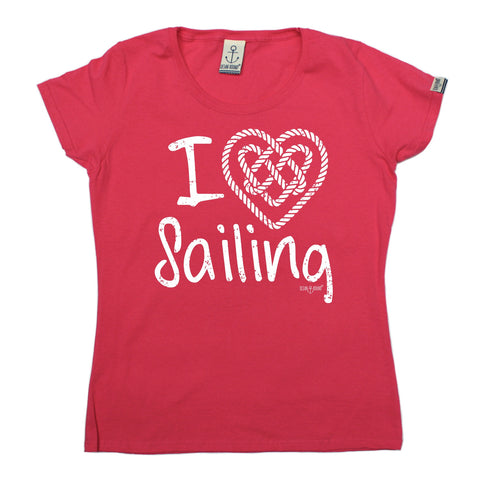 Ocean Bound Women's I Love Sailing Knot Heart Design Sailing T-Shirt