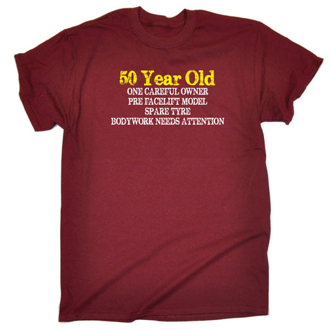 123t Mens 50 Year Old One Careful Owner Funny T Shirt