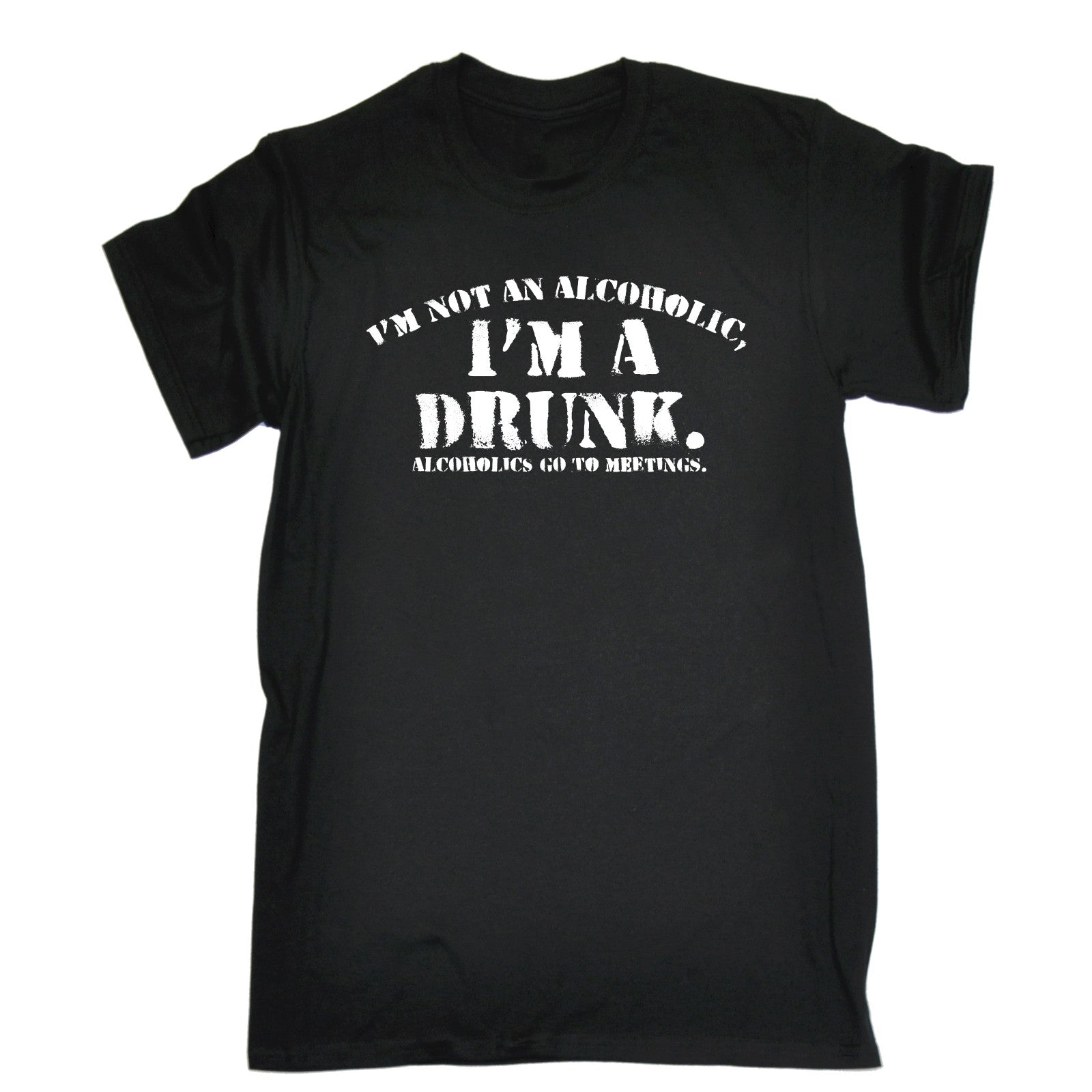 d5d7aa3e 123t Men's I'm Not An Alcoholic I'm A Drunk Alcoholics Go To Meetings Funny  T-Shirt