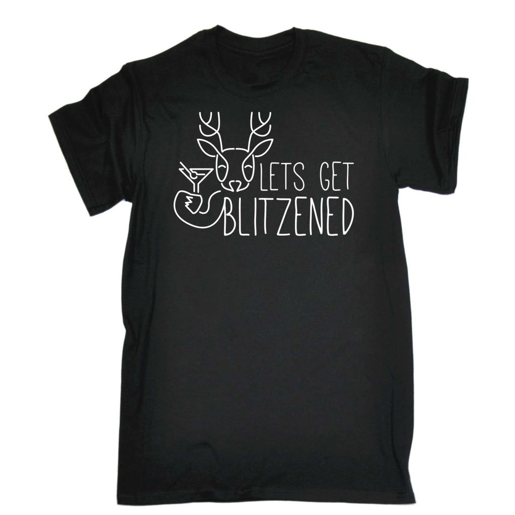 Funny Mens t shirt - 123t Lets Get Blitzened - Xmas Christmas Drinking Joke tshirt tshirts shirts T-SHIRT Birthday Christmas Gift Novelty Present Clothing