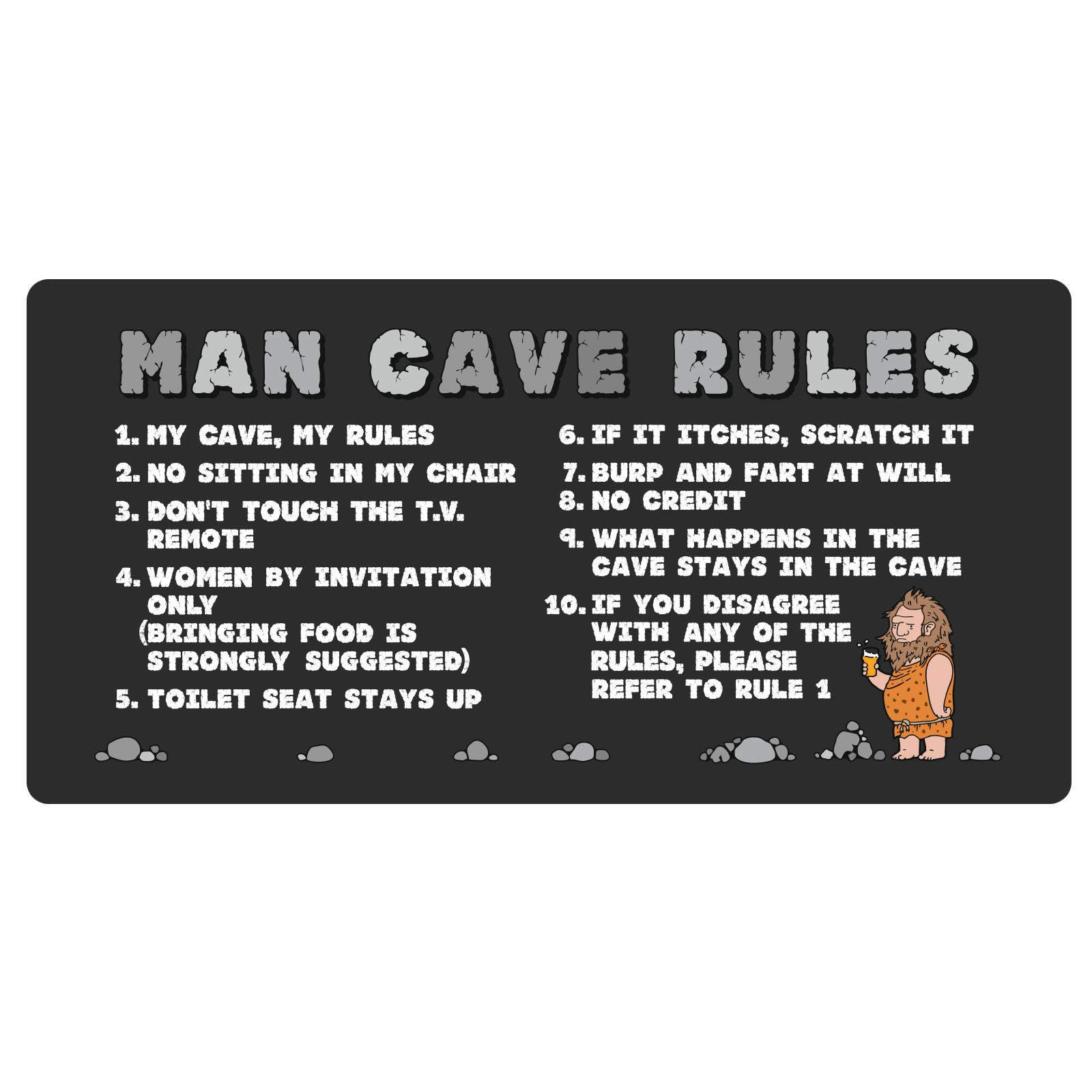 Buy 123t Man Cave Rules Personalised Funny Custom Bar Runner at 123t  T-Shirts & Hoodies for only £11 99