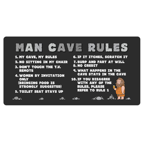 123t Man Cave Rules Personalised Funny Custom Bar Runner