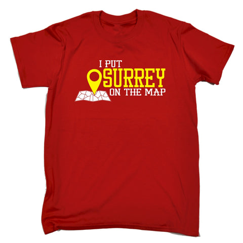 123t Men's I Put Surrey On The Map Funny T-Shirt, 123t