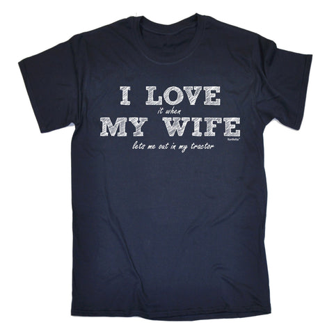 123t Men's I Love It When My Wife ... Tractor Funny T-Shirt