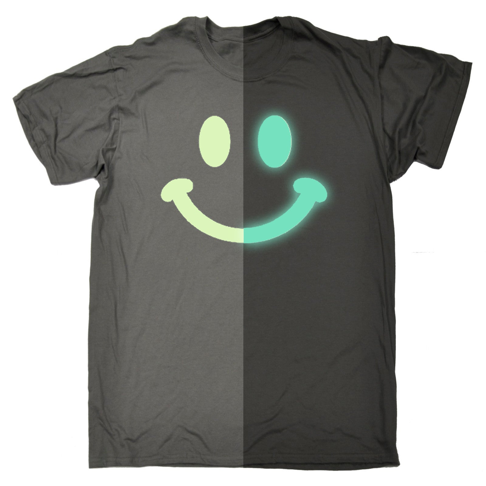 Glow in the dark smiley face t shirt old skool rave acid for Old skool acid house