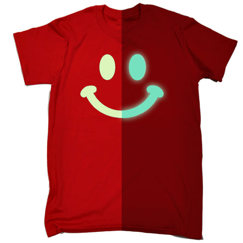 123t Men's Glow In The Dark Smiley Face Funny T-Shirt