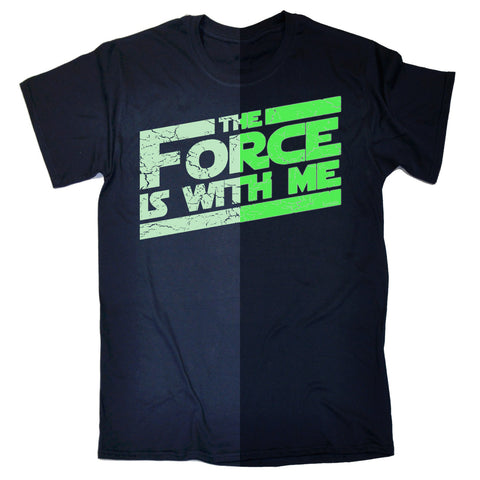 123t Men's Glow In The Dark The Force Is With Me Funny T-Shirt