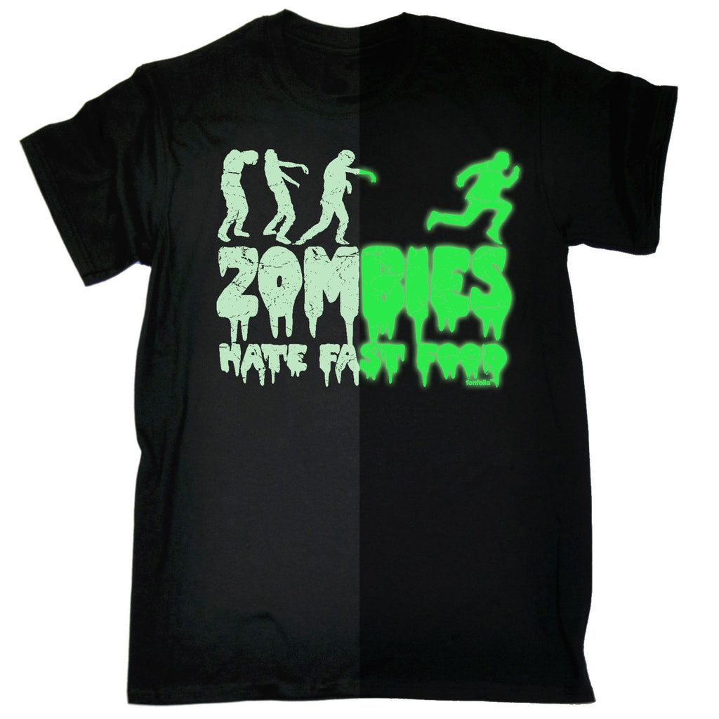123t Men's Zombies Hate Fast Food Glow In The Dark Funny T-Shirt