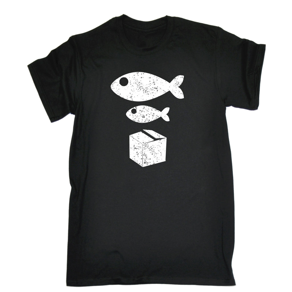 123t Men's Big Fish Little Fish Cardboard Box Funny T-Shirt