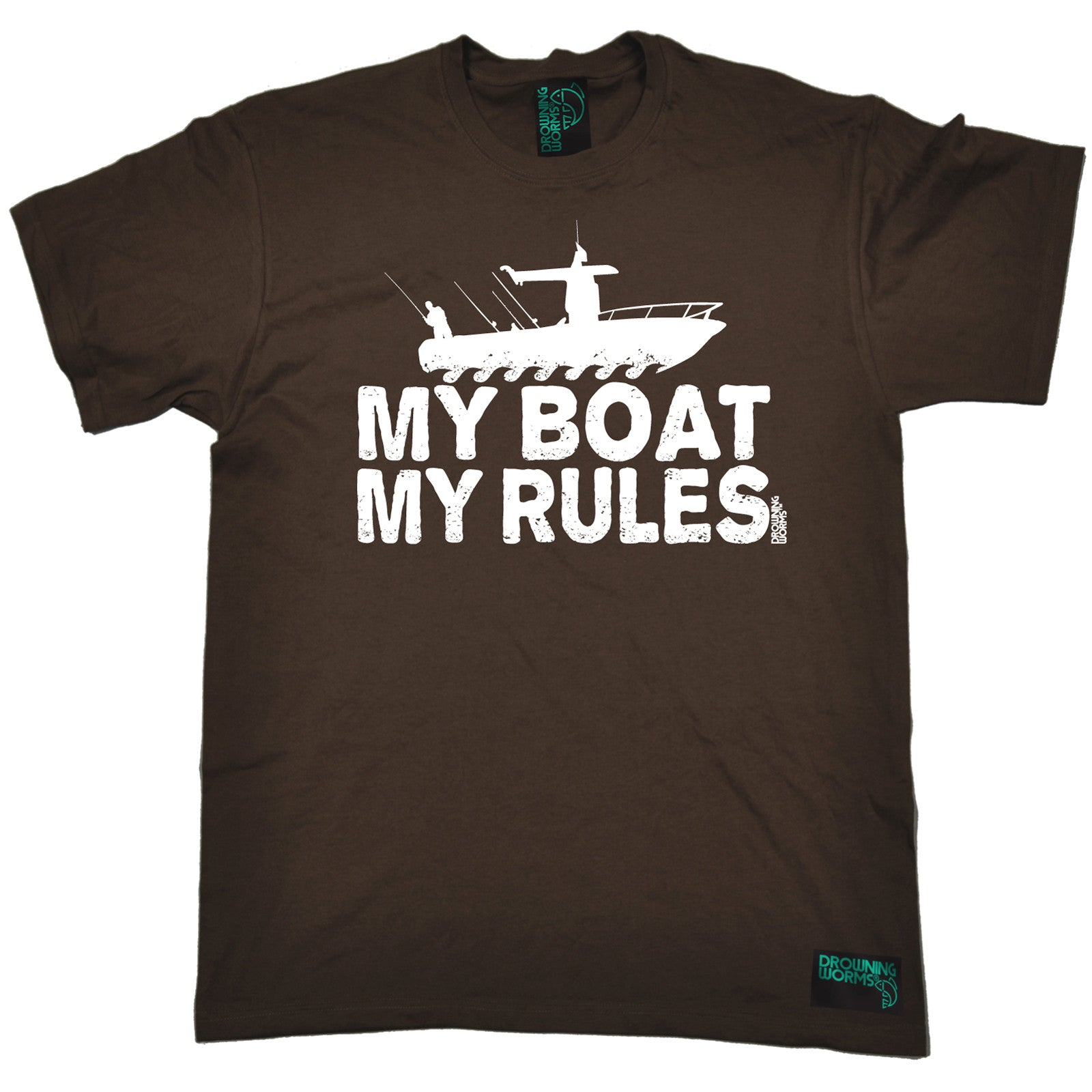 My Boat My Rules MENS Drowning Worms T-SHIRT Tee Birthday