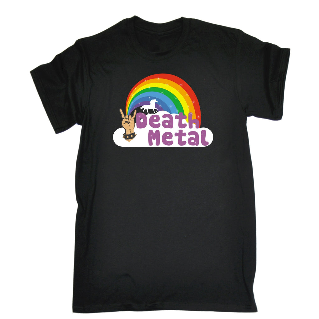 123t Men's Death Metal Unicorn Rainbow Design Funny T-Shirt
