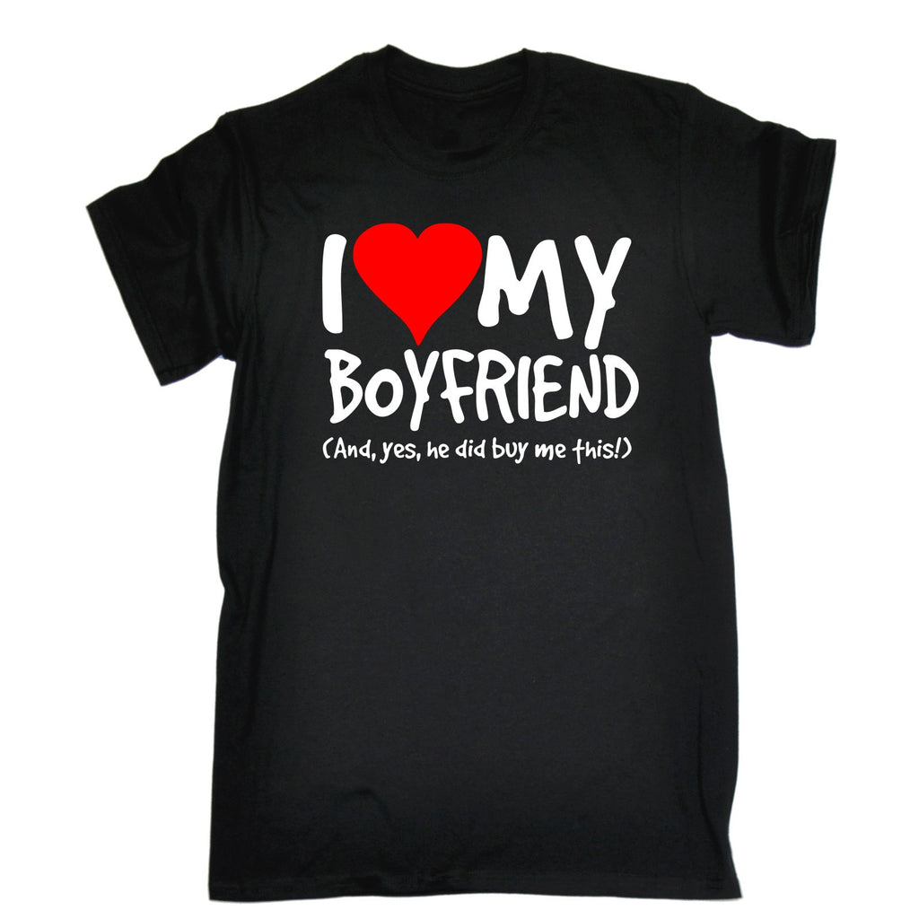 123t Men's I Love My Boyfriend And Yes He Did Buy Me This Funny T-Shirt