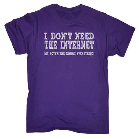 123t Men's I Don't Need The Internet Boyfriend Knows Everything Funny T-Shirt