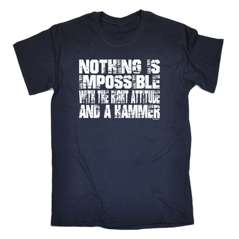 123t Men's Nothing Is Impossible … Attitude And A Hammer Funny T-Shirt
