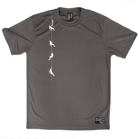 Men's Adrenaline Addict - Climbers on Rope - Premium Dry Fit Breathable Sports T-SHIRT - tee top Rock Climbing Bouldering t shirt Accessories