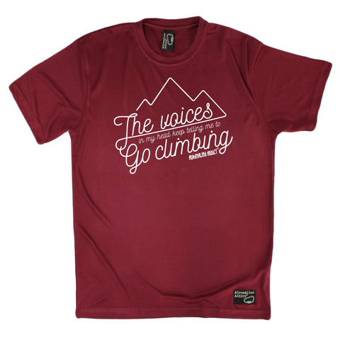 Men's Adrenaline Addict - The Voices In My Head Tell Me To Go Climbing - Premium Dry Fit Breathable Sports T-SHIRT - tee top Rock Climbing Bouldering t shirt Accessories