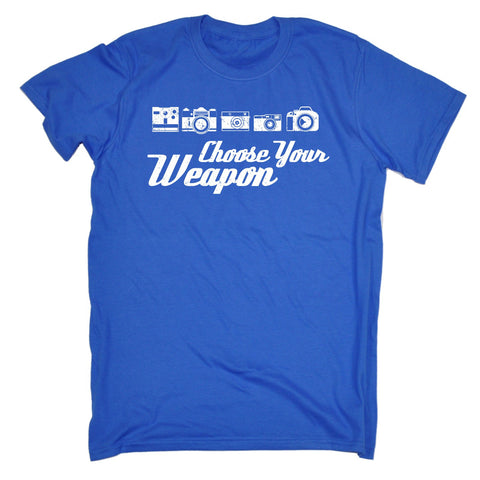 123t Men's Choose Your Weapon (Photo) Funny T-Shirt