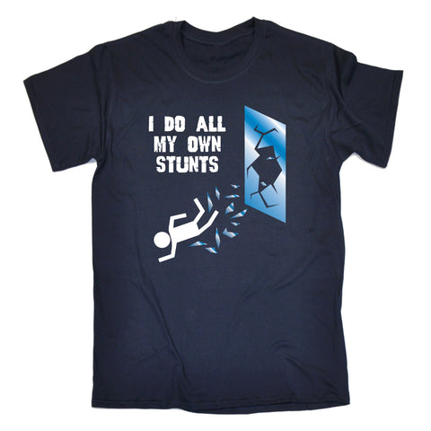 123t Men's I Do All My Own Stunts Window Funny T-Shirt