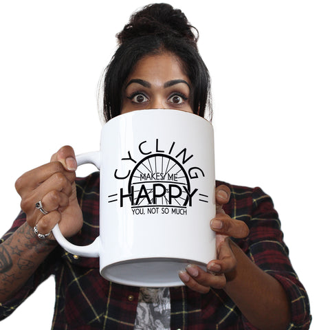Funny Mugs - Cycling Makes Me Happy - Joke Birthday Gift Birthday Pun GIANT NOVELTY MUG