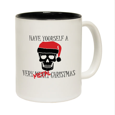 Funny Mugs - Have A Metal Cristmas - Joke Birthday Gift Birthday Pun BLACK NOVELTY MUG
