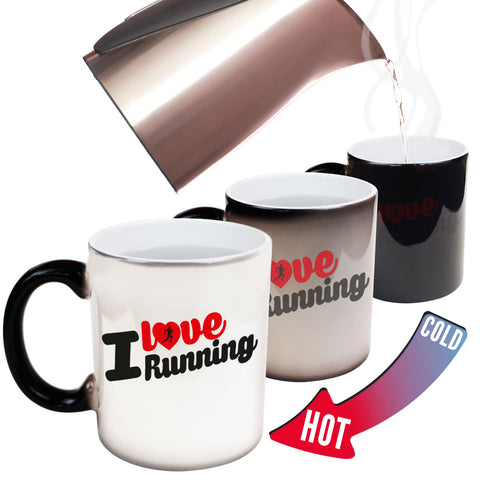 Funny Mugs - I Love Running - Joke Birthday Gift Birthday Pun COLOUR CHANGING NOVELTY MUG