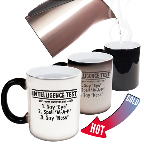 Funny Mugs - Intelligence Test - Joke Birthday Gift Birthday Pun COLOUR CHANGING NOVELTY MUG