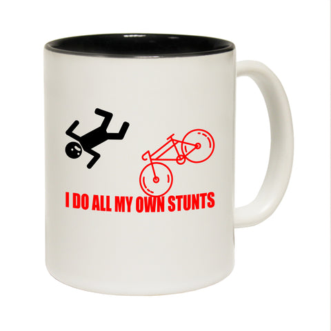 Funny Mugs - I Do My Own Stunts Bicycle - Joke Birthday Gift Birthday Pun BLACK NOVELTY MUG