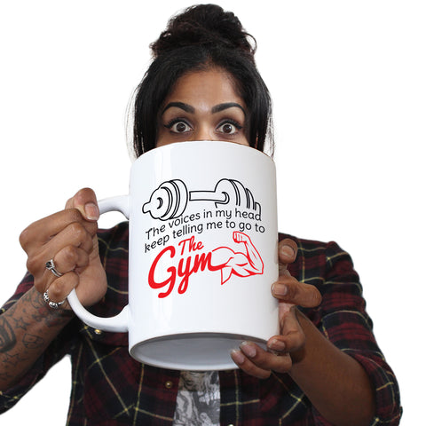 Funny Mugs - The Voices In My Head Tell Me To Go To The Gym - Joke Birthday Gift Birthday Pun GIANT NOVELTY MUG