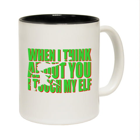 Funny Mugs - I Touch My Elf - Joke Birthday Gift Birthday Pun BLACK NOVELTY MUG