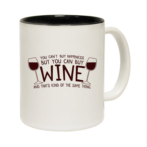 Funny Mugs - You Can Buy Wine - Joke Birthday Gift Birthday Pun BLACK NOVELTY MUG