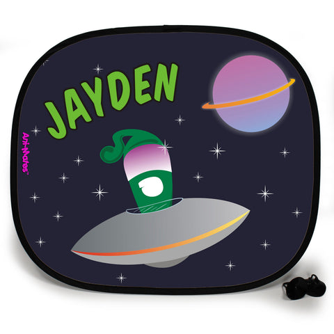 Ani-Mates Outta This World Green Alien Personalised UV Protection Fun Vehicle Interior Window Car Sunshade