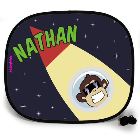 Ani-Mates Outta This World Chimponaut Personalised UV Protection Fun Vehicle Interior Window Car Sunshade