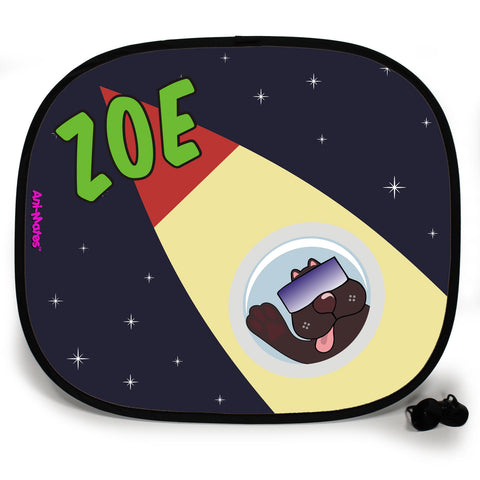 Ani-Mates Outta This World Space Dog Personalised UV Protection Fun Vehicle Interior Window Car Sunshade