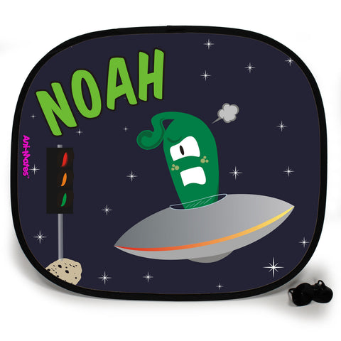 Ani-Mates Outta This World Alien Traffic Personalised UV Protection Fun Vehicle Interior Window Car Sunshade
