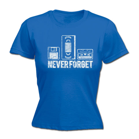 123t Women's Never Forget Floppy VHS Cassette Design Funny T-Shirt