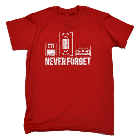 123t Men's Never Forget Floppy VHS Cassette Design Funny T-Shirt