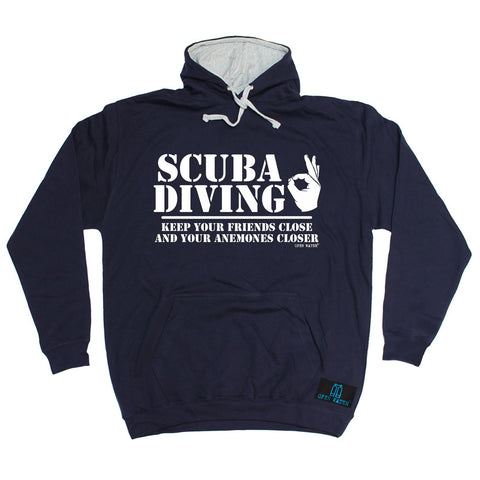 Open Water -   Scuba Diving Keep Your Friends Close Anemones Closer - HOODIE