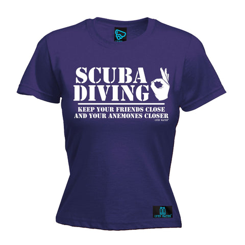 Open Water -  Women's Scuba Diving Keep Your Friends Close Anemones Closer - FITTED T-SHIRT