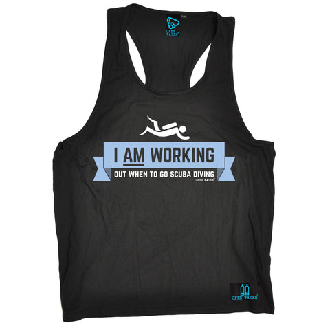 Open Water -  Men's I Am Working Out When To Go Scuba Diving - TANK TOP