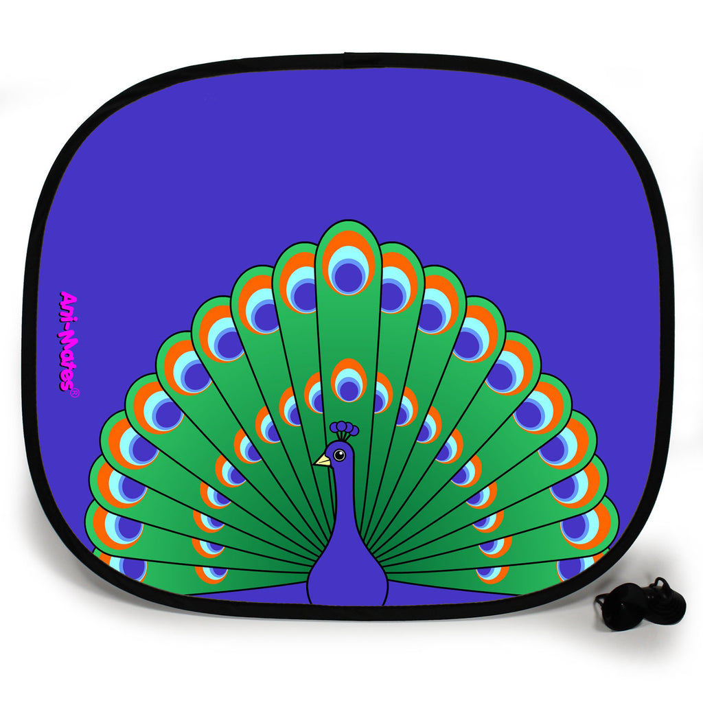 Ani-Mates Animals Peacock Personalised UV Protection Fun Vehicle Interior Window Car Sunshade