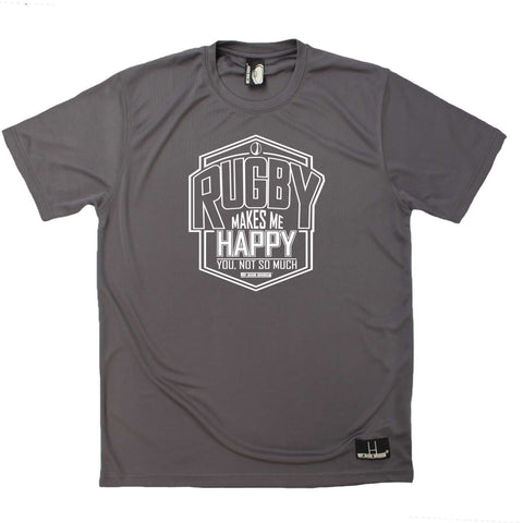 Up and Under Mens - Rugby Makes Me Happy - Rugby DRYFIT PERFORMANCE T-SHIRT