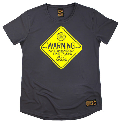 Women's RIDE LIKE THE WIND - Warning May Start Talking About Cycling - Premium Dry Fit Breathable Sports ROUND NECK T-SHIRT - tee top cycling cycle bicycle jersey t shirt