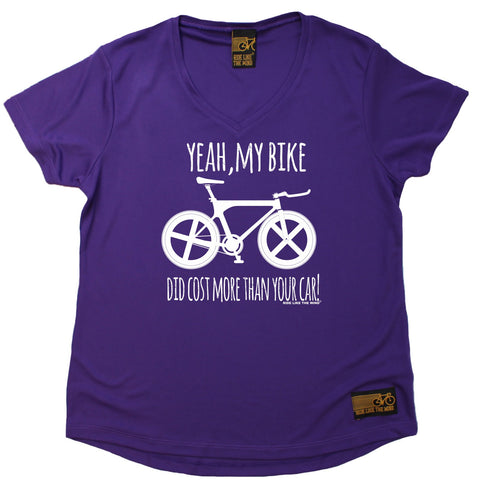 Women's RIDE LIKE THE WIND - Yeah My Bike Did Cost More Than Your Car Downhill - Premium Dry Fit Breathable Sports V-Neck T-SHIRT - tee top cycling cycle bicycle jersey t shirt