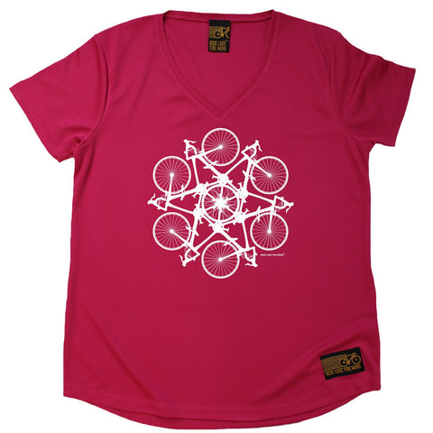 Women's RIDE LIKE THE WIND - Bicycle Kaleidoscope - Premium Dry Fit Breathable Sports V-Neck T-SHIRT - tee top cycling cycle bicycle jersey t shirt