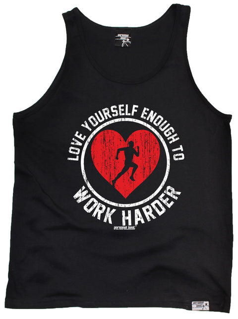 Personal Best Love Yourself Enough Work Harder Running Vest Top