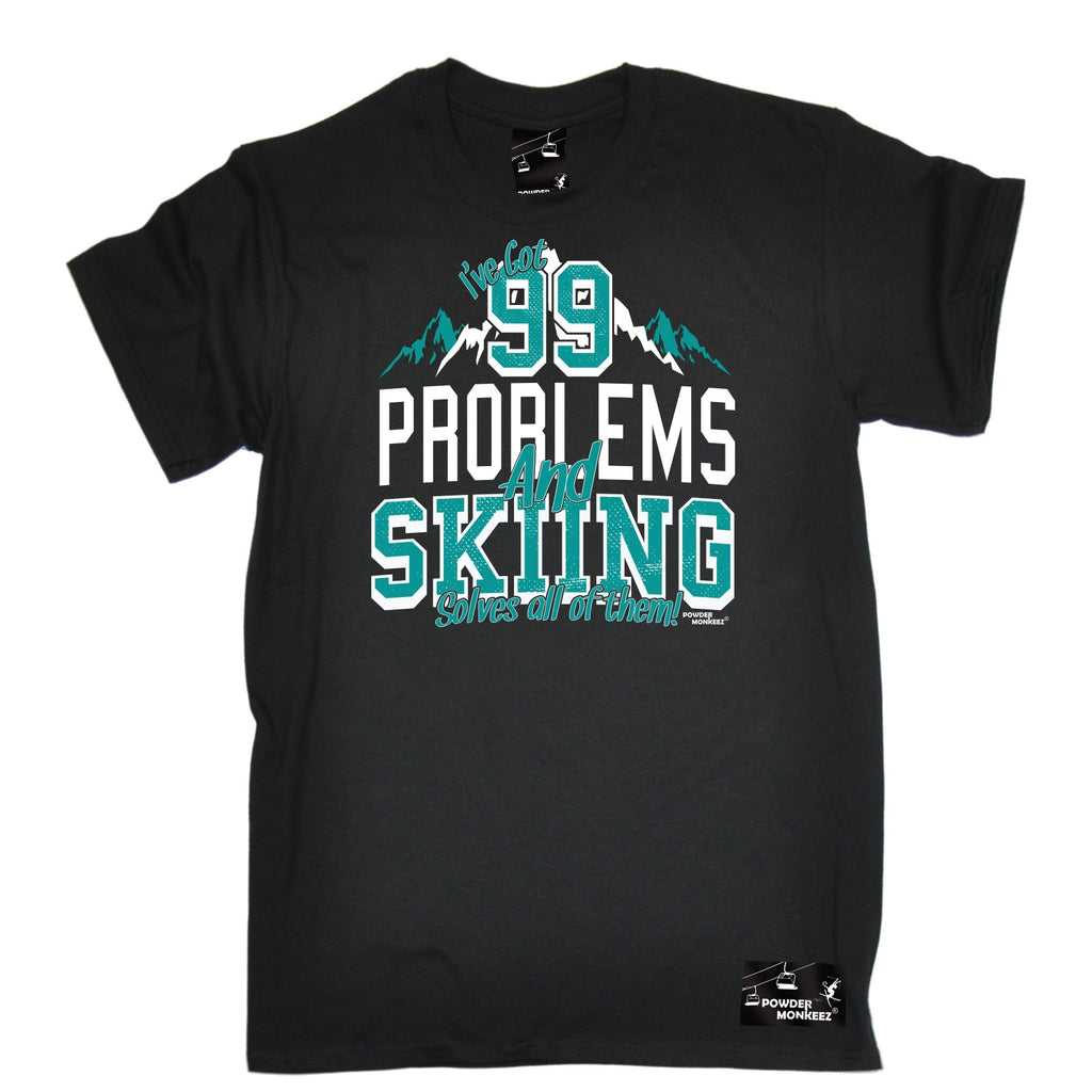 Powder Monkeez Men's I've Got 99 Problems And Skiing Solves All Of Them Ski T-Shirt