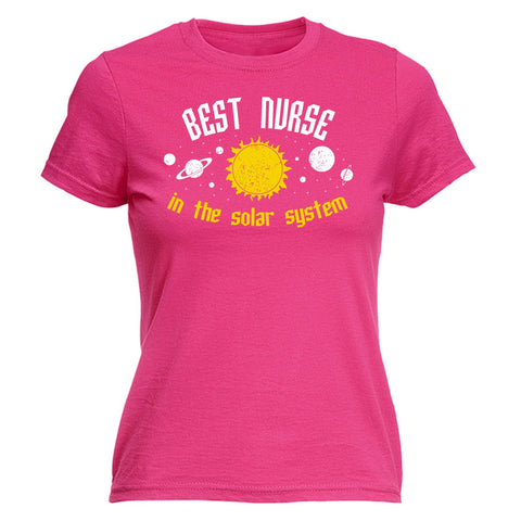 123t Women's Best Nurse In The Solar System Galaxy Design Funny T-Shirt