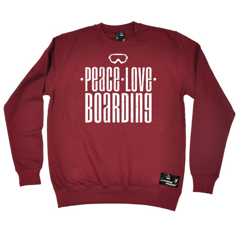 Powder Monkeez Peace Love Boarding Snowboard Sweatshirt