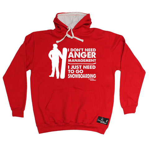 Powder Monkeez I Don't need Anger Management Snowboarding Snowboard Hoodie
